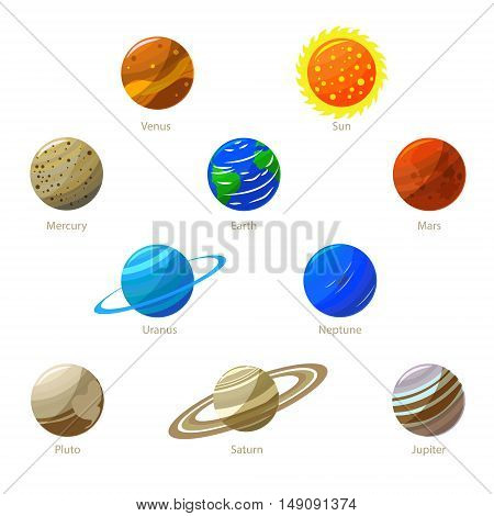 Colorful Solar System Planets and Sun. Flat Design Style. Vector illustration