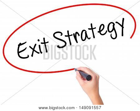 Women Hand Writing Exit Strategy With Black Marker On Visual Screen.