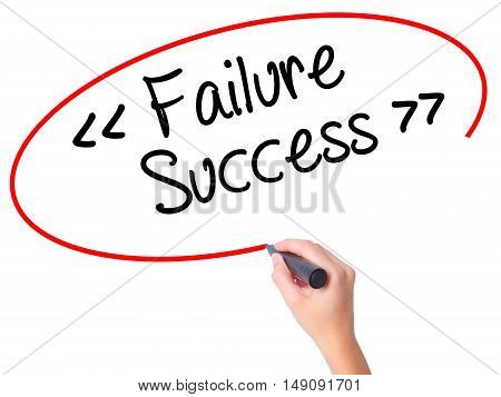 Women Hand Writing Failure Success With Black Marker On Visual Screen