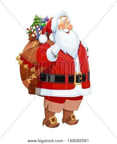 Smiling Santa Claus with gift sack. Christmas cartoon character. Vector illustration. Isolated white background. Bearded old-man in red costume is symbol of traditional winter new year celebration