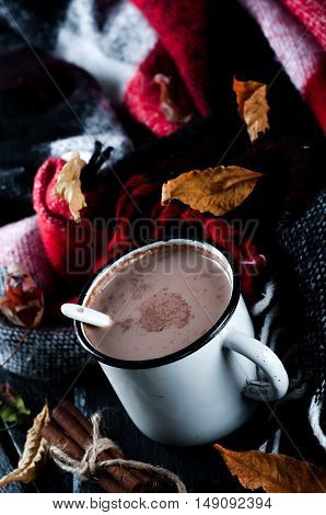 Autumn Still Life With A Cup Of Cocoa A