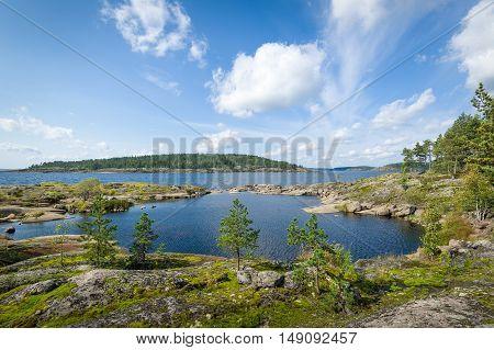 Panoramic landscape of Ladoga lake nature, Karelia republic, Russia.
