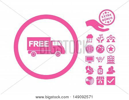 Free Shipment pictograph with bonus pictograph collection. Vector illustration style is flat iconic symbols pink color white background.