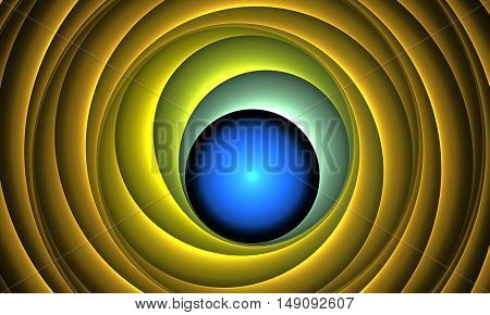 yellow abstract round curves and lines on black background