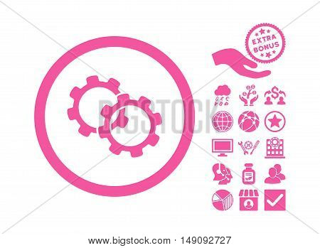 Gears icon with bonus pictures. Vector illustration style is flat iconic symbols pink color white background.