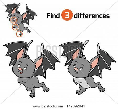 Find differences, education game for children, Bat