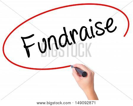 Women Hand Writing Fundraise With Black Marker On Visual Screen