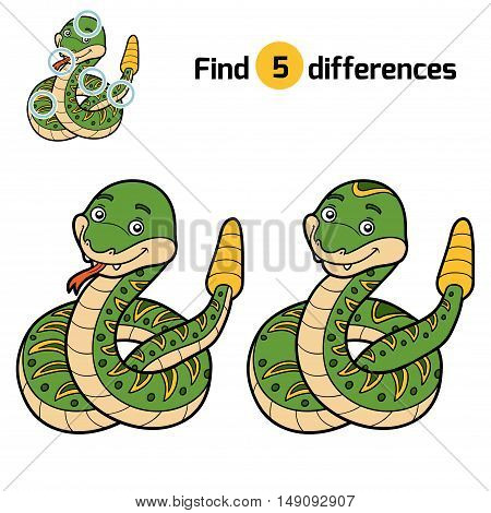 Find differences, education game for children, Rattlesnake