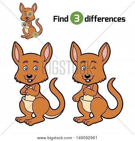 Find differences, education game for children, Kangaroo