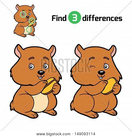 Find differences, education game for children, Hamster