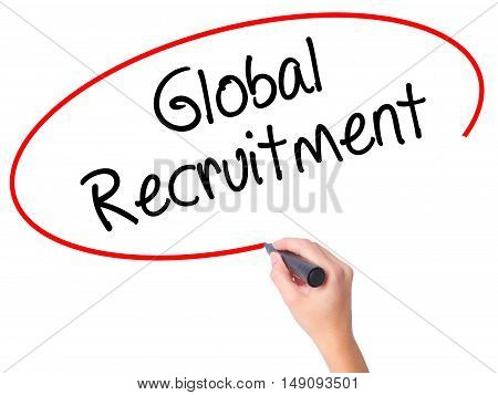 Women Hand Writing Global Recruitment With Black Marker On Visual Screen