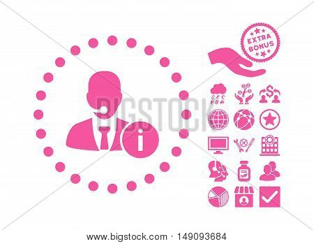 Help Desk pictograph with bonus clip art. Vector illustration style is flat iconic symbols pink color white background.