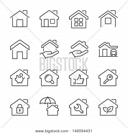 real estate house icons set thin line black color