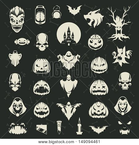 Halloween silhouette objects and icons decoration collection vector illustration