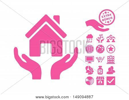 House Care Hands pictograph with bonus pictures. Vector illustration style is flat iconic symbols pink color white background.