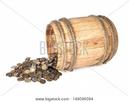 Wooden barrel with coins on white background