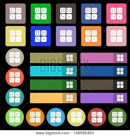 Dices Icon Sign. Set From Twenty Seven Multicolored Flat Buttons. Vector