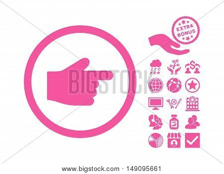 Index Finger pictograph with bonus icon set. Vector illustration style is flat iconic symbols pink color white background.