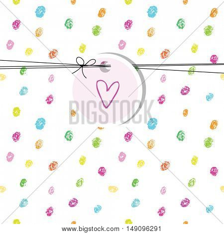 Birthday card with heart. Hand drawn colorful dots. Design element.
