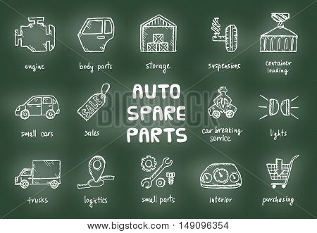 Set of auto spare parts. Car recyclers and scarp breaker icons in hand drawn style. Vector illustration EPS10.