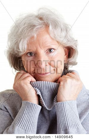 Happy Elderly Woman With Sweater