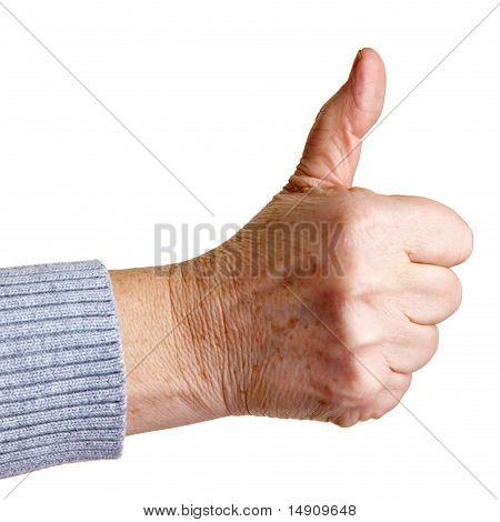 Senior Woman Holding Thumb Up