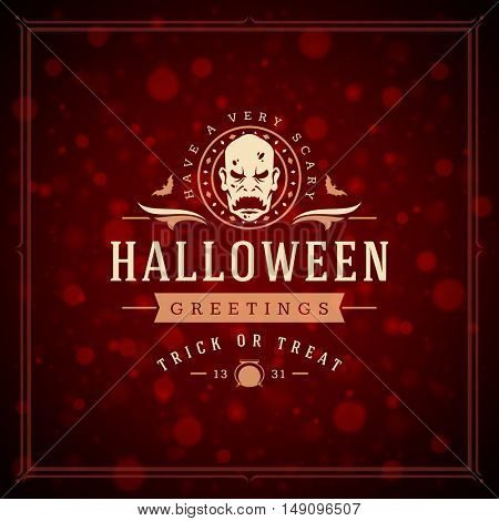 Halloween Typographic Greeting Card Design Vector Background.  celebration Label good for poster or flyer. EPS 10.