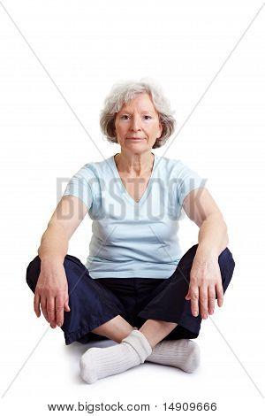 Senior Woman Sitting In Tailor Seat