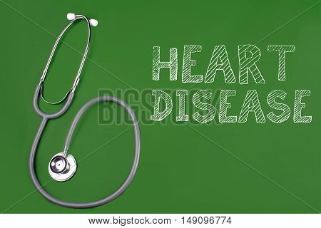 heart disease word with stethscope isolated on green background