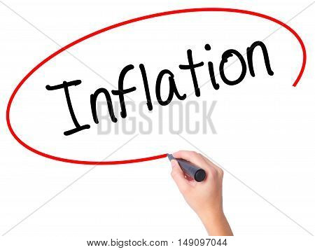 Women Hand Writing Inflation With Black Marker On Visual Screen.