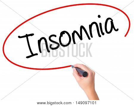 Women Hand Writing Insomnia With Black Marker On Visual Screen.