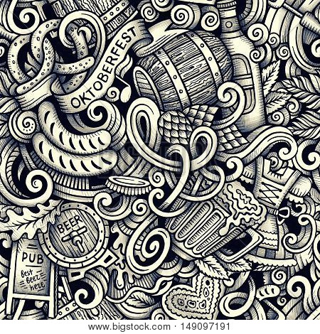 Cartoon hand-drawn doodles Octoberfest seamless pattern. Line art raster detailed, with lots of objects graphics background