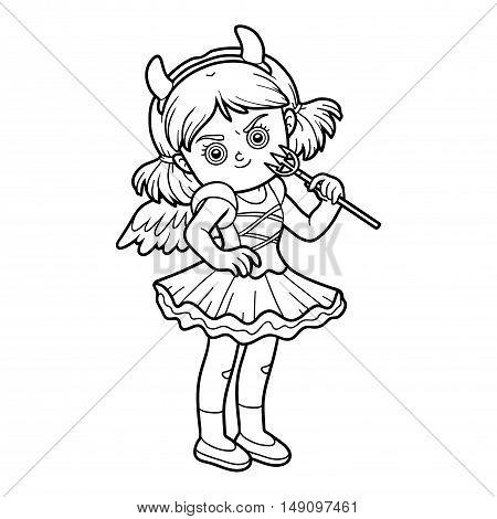 Coloring book for children, Halloween character, Devil girl