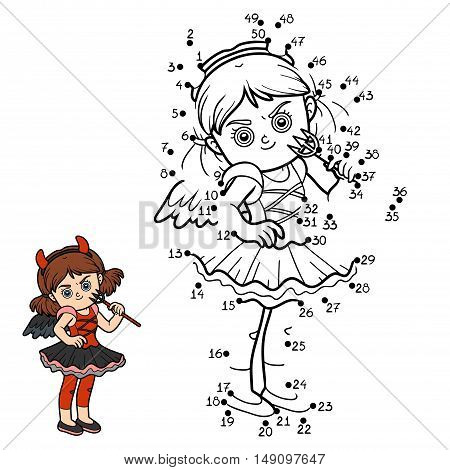 Numbers game, education dot to dot game for children, Devil girl