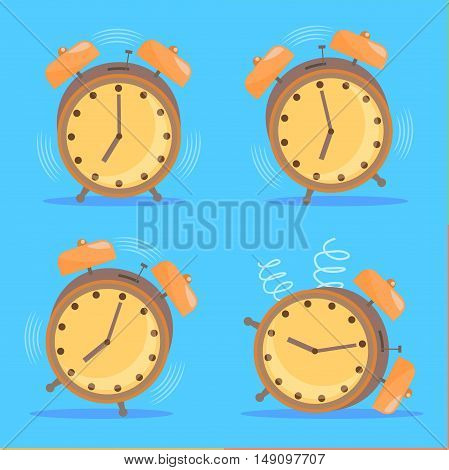 Alarm Clock Set. Flat Design Style. Vector illustration