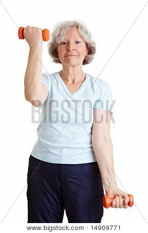Strong Elderly Woman With Dumbbells