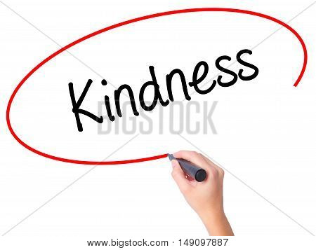Women Hand Writing Kindness With Black Marker On Visual Screen