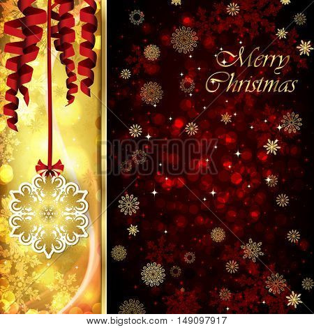 Vector Christmas card with Christmas decor, serpentine on golden and red background.