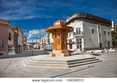 SJENICA, SERBIA-SEP 18, 2016: Main square in  Sjenica city on Sep 18, 2016,  southwest Serbia.