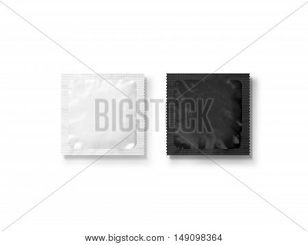 Blank small plastic packet design mockup black and white 3d illustration clipping path. Clear sachet mock up template. Clean pouch bag for condom wet napkin sugar shampoo or medicine powder.