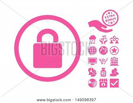 Lock icon with bonus icon set. Vector illustration style is flat iconic symbols pink color white background.