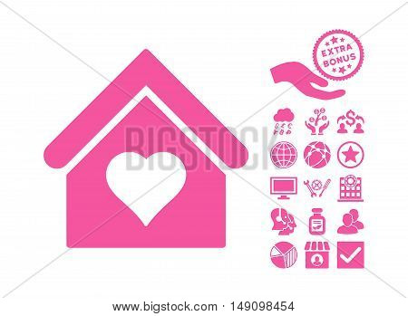 Love House pictograph with bonus pictures. Vector illustration style is flat iconic symbols pink color white background.