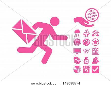 Mail Courier pictograph with bonus icon set. Vector illustration style is flat iconic symbols pink color white background.