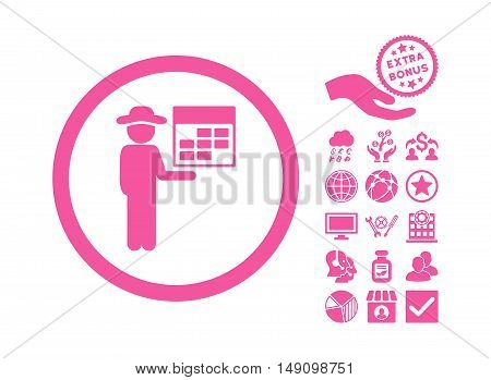Man Calendar pictograph with bonus elements. Vector illustration style is flat iconic symbols pink color white background.