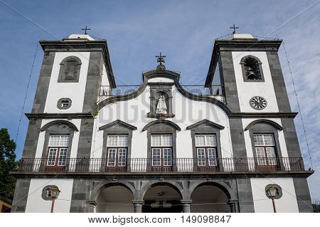 Close view of Funchal cathedral in Monte garden, historical landmark of Madeira island, Portugal.