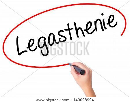 Women Hand Writing Legasthenie (dyslexia In German) With Black Marker On Visual Screen.