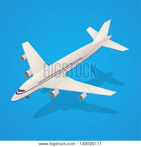 Passenger Airplane Flying in Sky Isometric Transportation on Background. Vector illustration