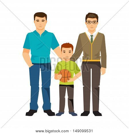Gay family with a child. Same-sex marriage. Men gay couple