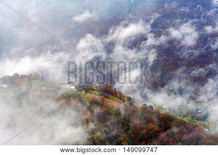 willage in autumn mountain