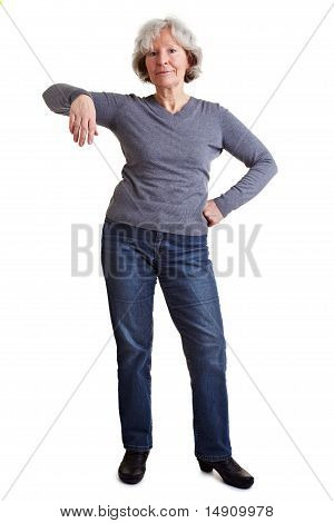 Woman Leaning On Imaginary Object